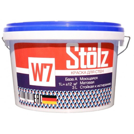Краска Stolz W7 7 (матовая), База A, Цвет белый, 4,5 л, Арт. RU1-500005