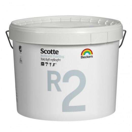 Краска Beckers Scotte R2 Takfarg 2 (глубокоматовая), Цвет белый, 10 л