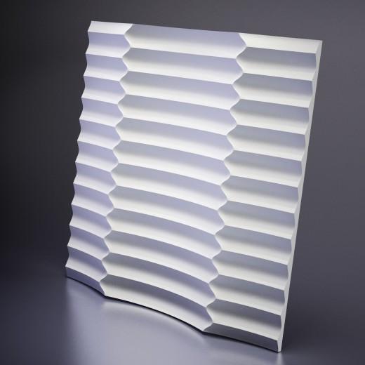 3D Панель Artpole Ruffle (600х600х50 см), Гипс, Цвет белый