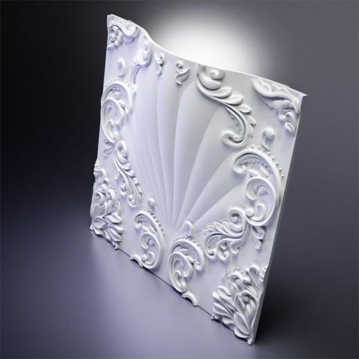 3D Панель Artpole Valencia LED (RGB) (600х600х88 см), Гипс, Цвет белый