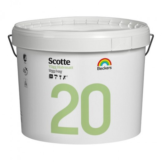 Краска Beckers Scotte 20 (полуматовая), База A, Цвет белый, 9 л