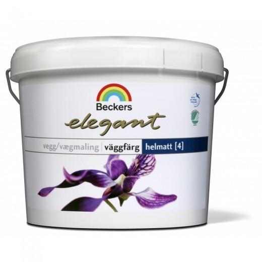Краска Beckers Elegant Vaggfarg Hellmat 4 (глубокоматовая), База A, Цвет белый, 9 л