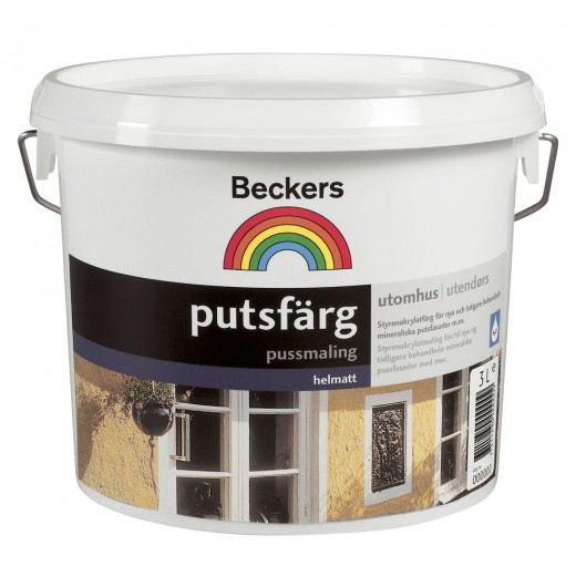 Краска Beckers Putsfarg 2 (глубокоматовая), База A, Цвет белый, 9 л