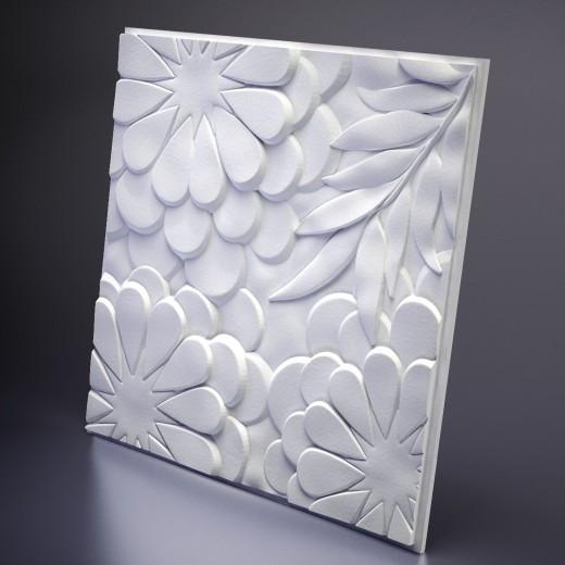 3D Панель Artpole Flora (600х600х32 см), Гипс, Цвет белый
