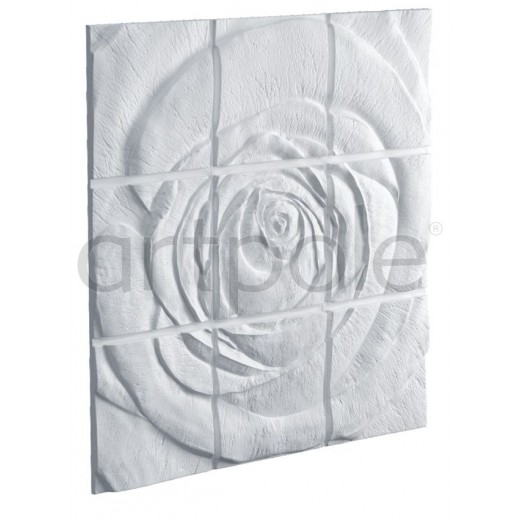 3D Панель Artpole Rose 2 (600х600х47 см), Гипс, Цвет белый