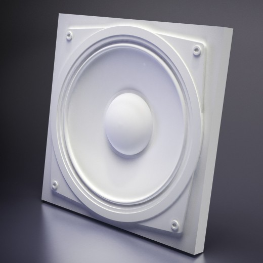 3D Панель Artpole Sound (600х600х40 см), Гипс, Цвет белый